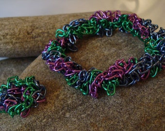 Aluminum chain bracelet and ring set in Purple, Green, and Blue (ring not available)