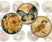 Digital Collage Sheet - 1.5 inch round - Butterflies, birds and flowers