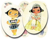 Vintage Ice Cream Ads Characters in 30x40mm Ovals for Pendant Making