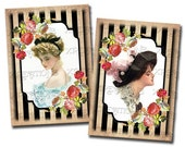 Vintage Illustrations of Women on ATC ACEO size cards - Digital Collage Sheets - Tags, Cards, Altered Art