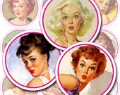 Sexy and naughty Pin Ups Girl Faces - 2 inch circles - cupcake toppers - Digital Collage Sheet