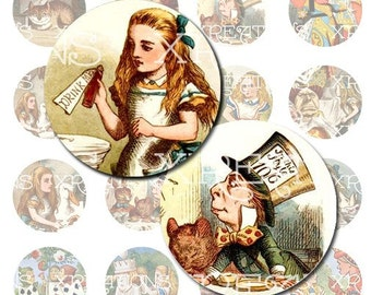 Alice in Wonderland in 25mm or 1 inch round cameo/cabochon digital collage sheet