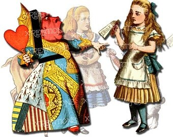 Alice in Wonderland characters colored cutouts, paper dolls, digital collage sheet