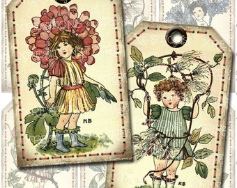 Shabby Vintage Flower Book Illustrations by Nellie Benson as hangtags, gift tags, bookmarks