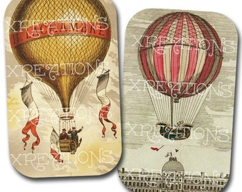 Vintage Hot Air Balloon Digital Collage Sheet for DIY tin cans, cards, tags and more