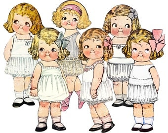 Dress Up Your Own - Cute Vintage Paper Dolls Repro - Digital Collage Sheet