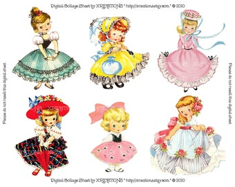Cute and Pretty Little Girls Vintage Greeting Card Cutouts (1) - Digital Collage Sheet