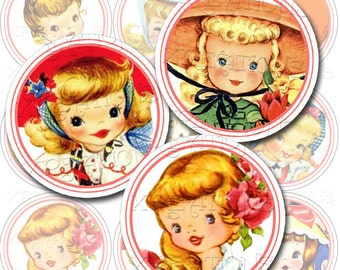 Vintage Cute Little Girls 2 inch Circle Tags, Cupcake Topper, Sticker, Digital Collage Sheet