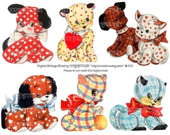 Cute Stuffed Cats and Dogs Cutout from Vintage Greeting Cards - Digital Collage Sheet