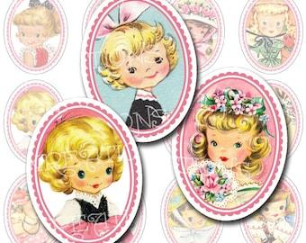 Vintage Little Darlings, Little Girls Oval Portraits, 30x40mm, Digital Collage Sheet