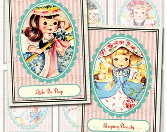 Cute Vintage Story Book - Nursery Rhymes - ATC / ACEO - Tags - Cards - Digital Collage Sheet