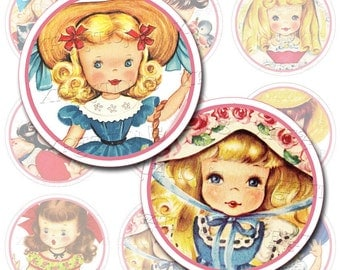 Vintage Greeting Card Cutouts, Adorable Little Girls, 2 inches circles, Digital Collage Sheet, Great as cupcake topper