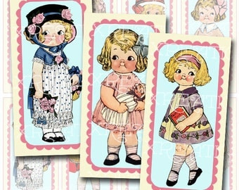 Cute Vintage Paper Dolls in 1x2 inches rectangle domino tile size, Digital Collage Sheet
