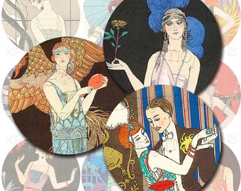 Vintage Art Deco Women Illustrations in 2 inches rounds - digital collage sheet