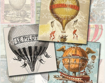 Vintage French Hot Air Balloon Images in 2x2 inches squares - Digital Collage Sheet