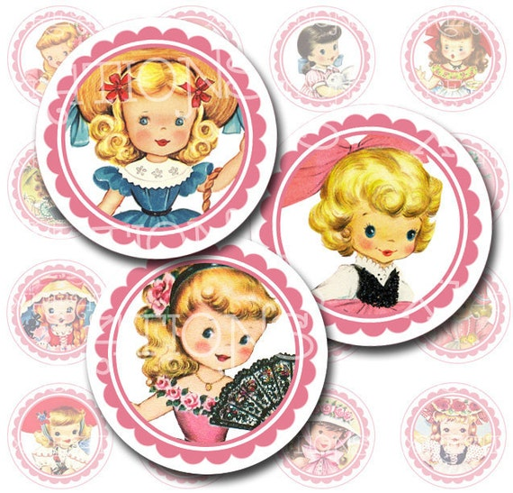 Vintage Adorable Little Darlings - Little Girls Round Portraits - 1 inch circles - inchies - Digital Collage Sheet