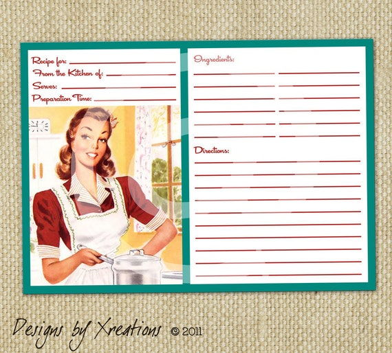 Retro blank recipe card digital template 5x7 by pinkpapertrail for 5x7 recipe card template for word