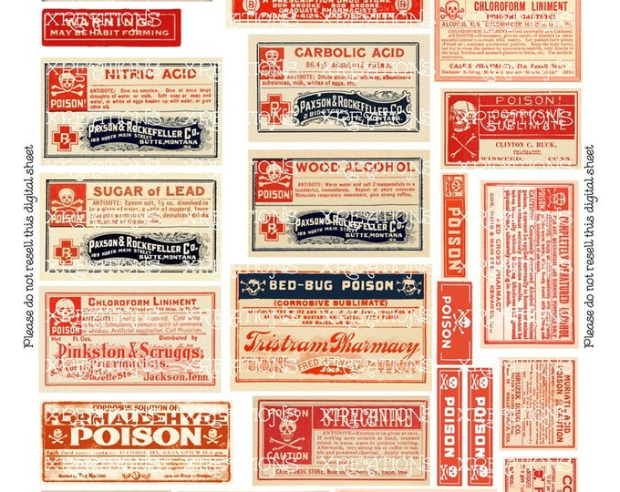Vintage Poison Labels in Assorted Sizes digital collage sheet