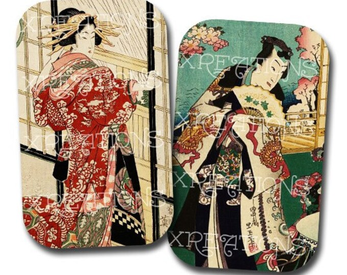Vintage Japanese Wood Blocks Prints for DIY Tin Cans, Pill Cases or as Tags - Printable instant download