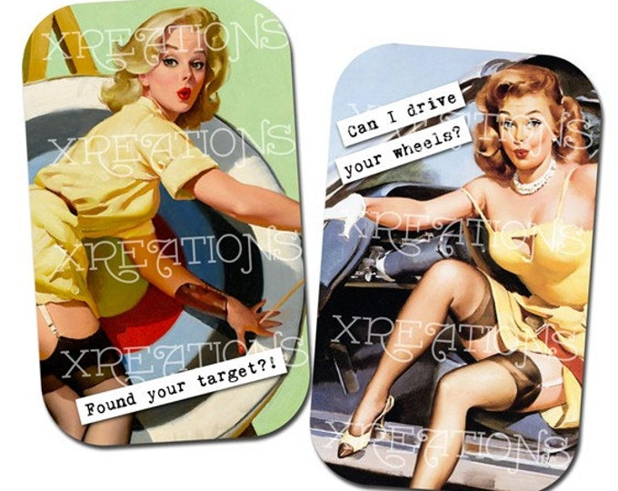 Vintage Pinup Girls with Cute Captions Digital Collage Sheet, For cards, tags DIY