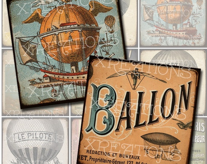 Vintage French Hot Air Balloon Images in 2x2 inches squares with frame effect - Digital Collage Sheet
