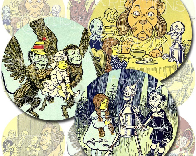The Wonderful Wizard of Oz - in 2 inches circles - Digital Collage Sheet