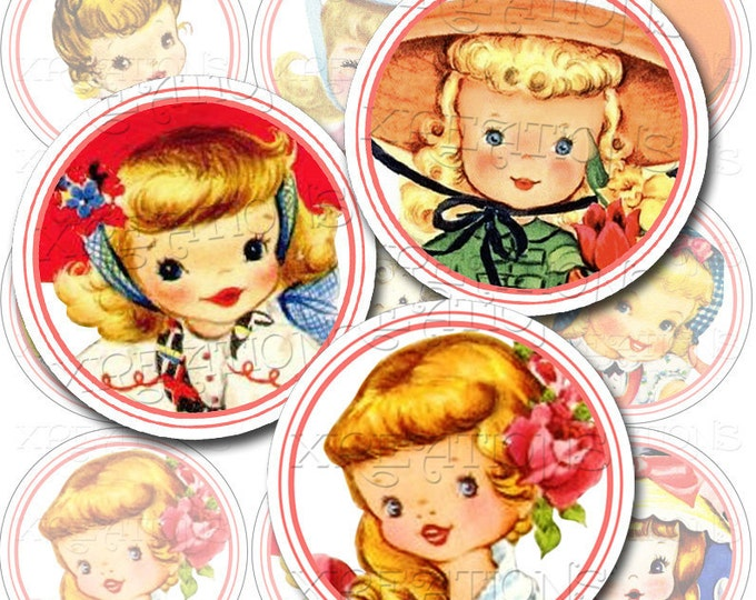 Vintage Cute Little Girls 2 inch Circle Tags - Cupcake Topper - Sticker - Digital Collage Sheet