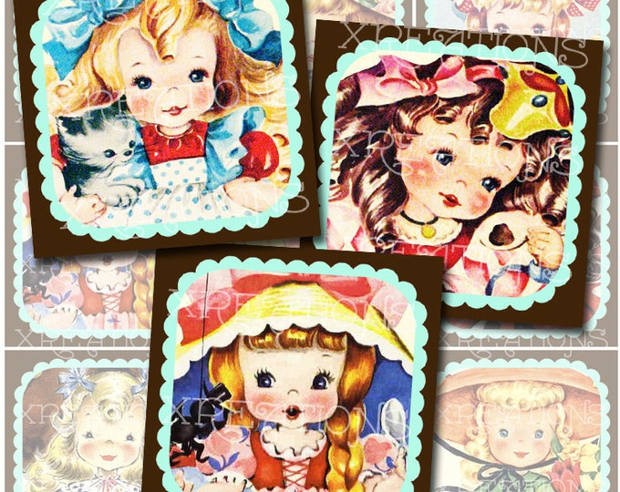 Altered Adorable Children's Greeting Cards in 2 inches squares - Digital Collage Sheet - Use as cupcake topper, tags and more.
