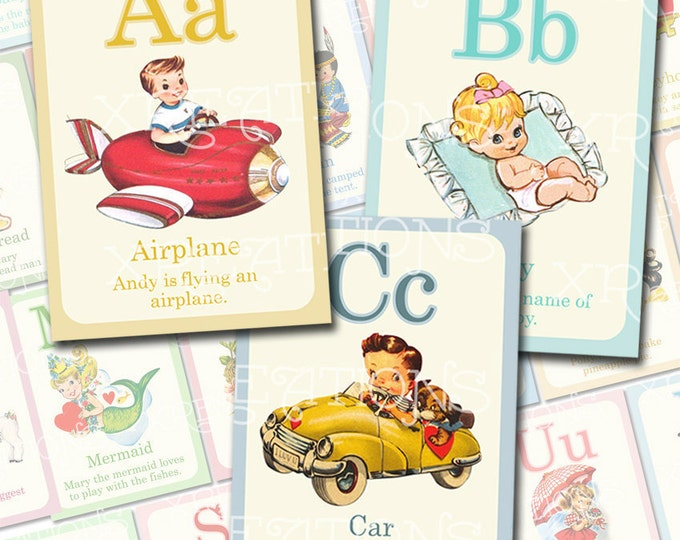Cute Vintage Style ABC Flashcards in 5x7 inches set of 26 - Print-your-own cards - PDF file