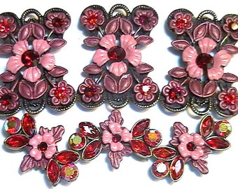 Six 2 Hole Slider Beads Burgundy & Mauve Light Siam, Siam, Light Siam AB Fancy Floral