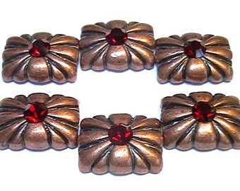 Six 2 Hole Slider Beads Ornate 5mm Siam Austrian Crystal Antiqued Copper Plated