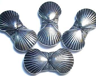 "Four Large 2 Hole Slider Beads, 2 Hole Spacer Beads 1 3/8"" Double Sea Shell Clam Shell Beach Beads Nautical Beads Seashore Beads Ocean Beads"