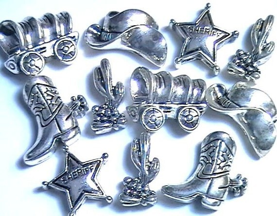 2 Hole Slider Beads Western Cowboy Cactus, Hat , Boot, Badge & Wagon Set Of 11