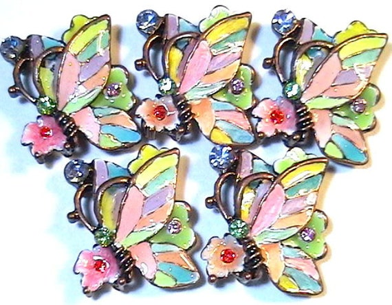 Five 2 Hole Slider Beads Multi Color Enamel & Epoxy Swarovski Crystal Butterflies, Flowers