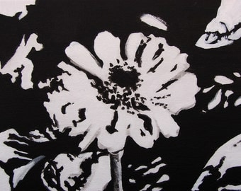 Acrylic Floral Painting In Black and White From Green Leaf Studios
