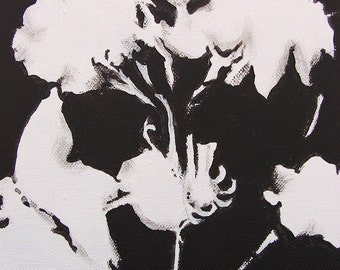 Acrylic Floral Painting in Black and White No 3. From Green Leaf Studios