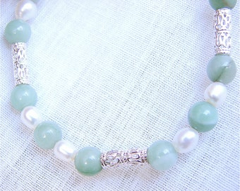 Bracelet Pearls, Sterling Silver, and Green Aventurine JBC006