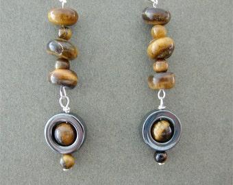 Cat Eye and Hematite Stone Dangle Earrings