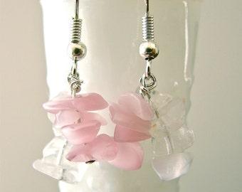 Dangle Earrings Rose and White Quartsl Chips on Sterling Silver Fish Hooks