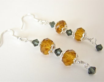 Faceted Amber Austrian Crystals With Emerald Swarovski And Sterling Silver