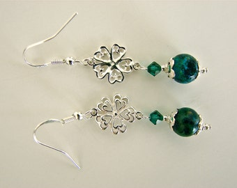 Austrian Jasper, Emerald Swarovski Crystal, And Sterling Silver Dangle Earrings