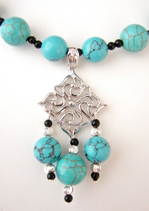 Blue Turquoise Howlite, Black Jasper, and Sterling Silver Necklace Set