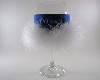 Bridesmaid Coozie with Feathers