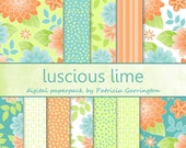 Luscious Lime Digital Printable Cardmaking Scrapbooking Paper Pack