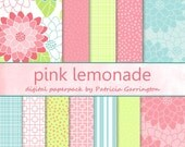 Pink Lemonade Floral Geometric Digital Printable Cardmaking Scrapbooking Paper Pack