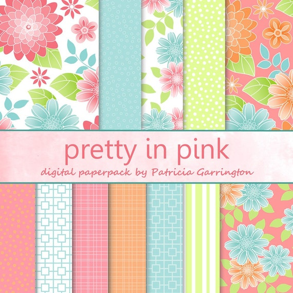 Pretty In Pink Digital Paperpack Collection Printable INSTANT DOWNLOAD - use for papercrafts, mixed media, collage, and scrapbooking