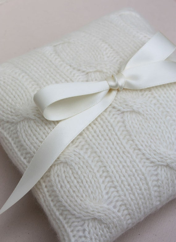 Wedding Ring Bearer Pillow Cream Cable Knit Sweater