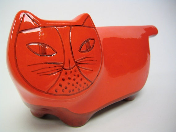 Rare vintage Italian Baldelli pottery cat bank in bright red orange glaze