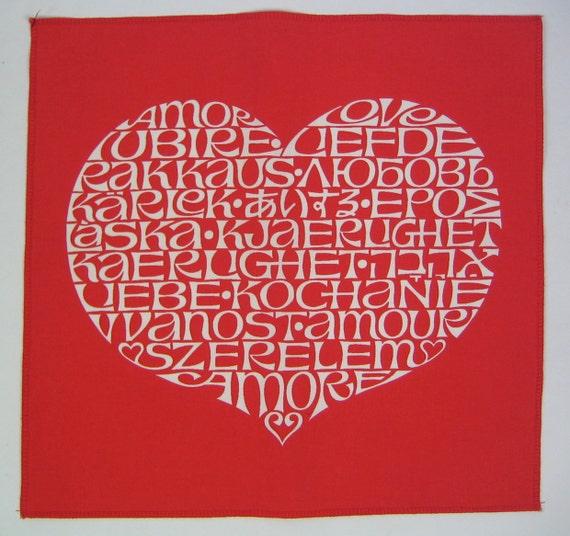 Herman Miller Alexander Girard iconic vintage LOVE language print mid century modern Valentine