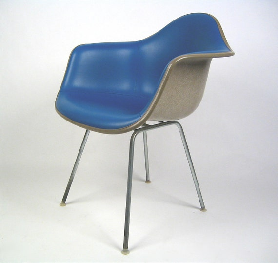 Vintage Herman Miller Eames bright blue upholstered fiberglass arm chair FREE SHIPPING